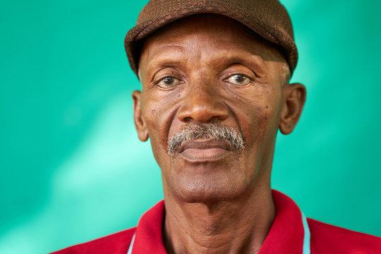 Seniors People Portrait Sad Old Black Man With Hat