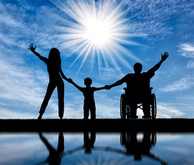 Disabled in wheelchair and family happy with their reflection