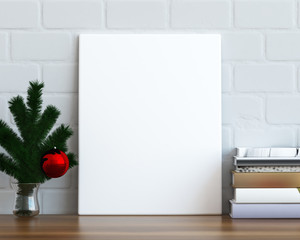 Mock up poster frame on the table, christmas background, 3D render