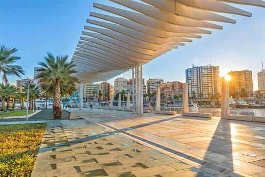 Pedestrian embankment in the port area of Malaga