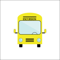 Front view of a big tour bus vector illustration.