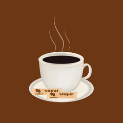 Cup of coffee end sugar.