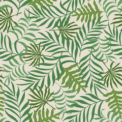 Seamless pattern with hand-drawn tropical leaves