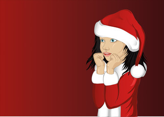 Wow. Girl in Santa Claus costume very surprised. Vector.Portrait