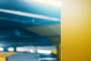 Underground garage parking lot, blur abstract defocussed backgro