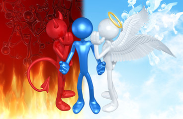 Angel And Devil With The Original Character 3D Illustration Whispering