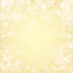 Shiny bokeh lights, stars and sparkles on golden background. Vector illustration.