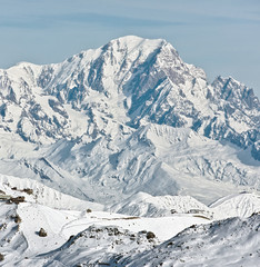 View of the Mont Blanc from Les Menuires - France