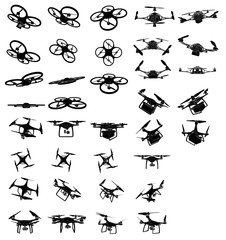 Set of drones with cameras and containers