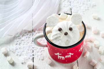 Hot chocolate with marshmallow in the form of polar bear