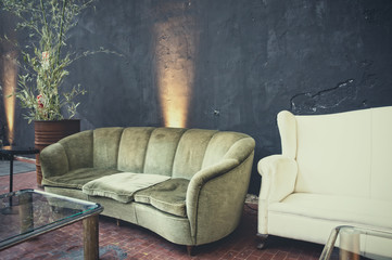 Living room with grunge wall