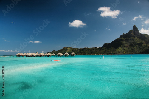 Serene Bora Bora Island View With Turquoise Water Stock