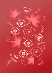 Bright card with flowers on red background