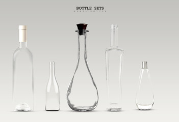 Bottle of glass set on isolated background