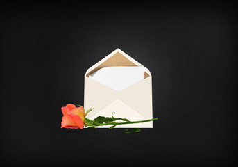 Envelope and rose stage