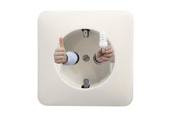 thumbs up for energy saving light bulbs