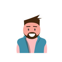 Profile Icon Male Avatar Man, Hipster Cartoon Guy Beard Portrait, Casual Person Flat Vector Illustration