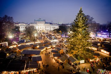 Vienna traditional Christmas Market 2016, aerial view at blue hour
