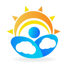 Clouds and sun icon logo