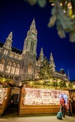 VIENNA, AUSTRIA - 6 DECEMBER 2016: Christmas market in front of the City Hall (Rathaus), Austria, Wien