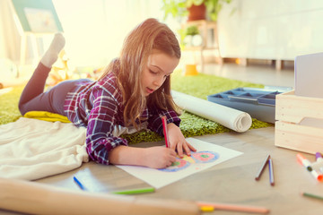 Creative Child Drawing at Home