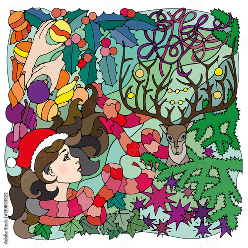 black and white illustration for coloring pages mysterious christmas or new year background with girl