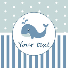 blue whale baby shower place for text card vector