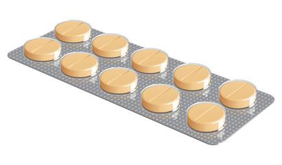 блистер с таблетками на белом фоне