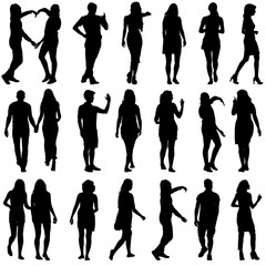 Poster Chambre d enfant Black silhouettes of beautiful mans and womans on white backgrou
