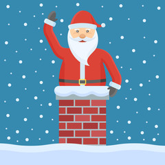 Santa Claus in the chimney. Christmas flat style vector illustration.