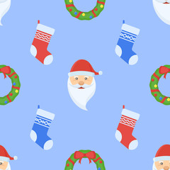 Christmas seamless pattern with wreath, socks and Santa Claus face on blue background. Vector texture.