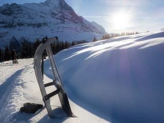 Schlittelpiste in den Alpen, Schweiz