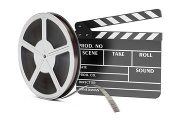 Cinema concept. Clapperboard with film reels, 3D rendering