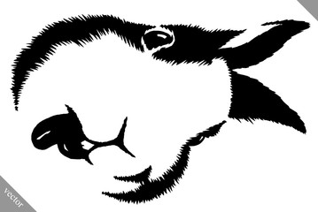 black and white linear paint draw rabbit vector illustration