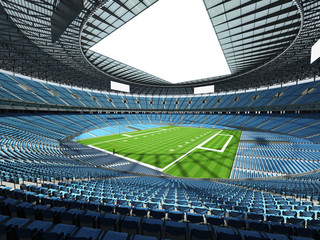 3D render of a round football stadium with sky blue seats for hundred thousand fans