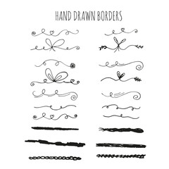 Collection of handdrawn borders. Cute and unique swirls and dividers for your design. Ink borders. Vector dividers.
