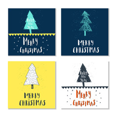Wonderful and unique handwritten Christmas wishes for holiday greeting cards.  Illustration of a tree with snow and  lettering. Great design element for congratulation cards, banners and flyers.