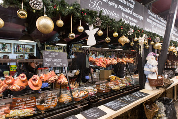 BUDAPEST, HUNGARY - 8 DECEMBER 2016: Budapest street food stand at the traditional Christmas market in Hungary, Europe