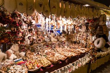 BUDAPEST, HUNGARY - 8 DECEMBER 2016: Budapest traditional Christmas market vendor at Stephan Platz in the city center, Hungary, Europe