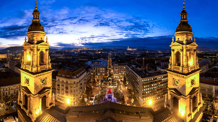 Budapest Saint Stephan Basilica panorama after sunset