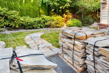 Fotobehang - Stone path home improvement project