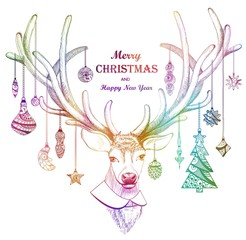 Christmas deer greeting card or background. Holiday decorations, Merry Christmas and Happy New Year. Vector illustration for card, print and different design.