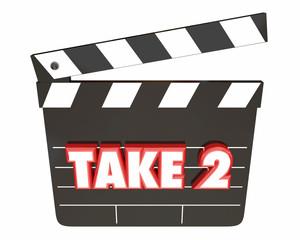 Take 2 Two Second Retry Redo Scene Movie Clapper 3d Illustration