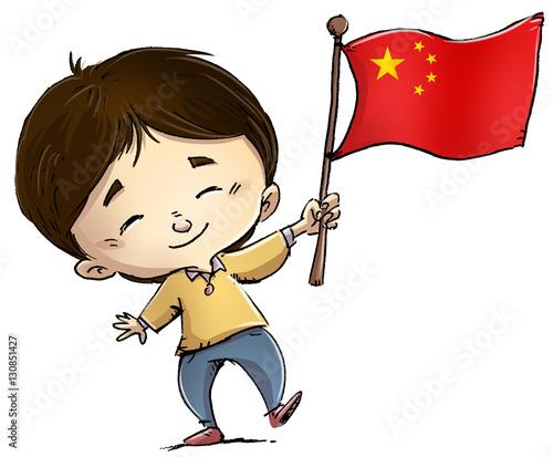 """""""niño Con Bandera De China"""" Imagens E Fotos De Stock"""