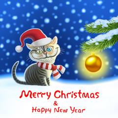 Martin cat Happy New Year funny cartoon image