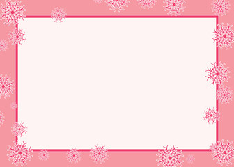 Pink snowflake frame vector illustration border with random pattern. Inside fits a picture or text for invitation or greeting