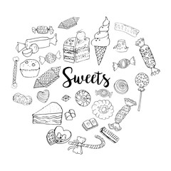 Different sweets collection. Doodle style clipart elements isolated on white. Chocolate and ice-cream