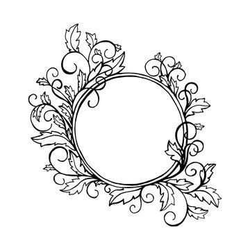 Round frame with curly ornamental border. For picture or photo. Black element, coloring book page cover design. Vector isolated illustration