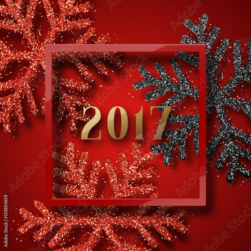 Happy new year 2017 christmas background red with beautiful bright happy new year 2017 christmas background red with beautiful bright snowflakes realistic shine glitter m4hsunfo
