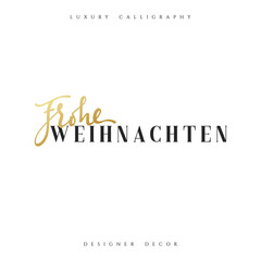 Merry Christmas. German inscription. Frohe Weihnachten. Calligraphy text handmade. Xmas holiday poster and greeting card.